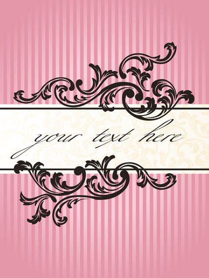 Pink stripes vintage label design