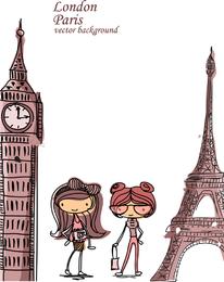 Hermoso dibujo Londres-París.