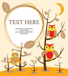 Ilustração de corujas com árvores e texto