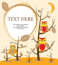 Owls illustration with trees and text