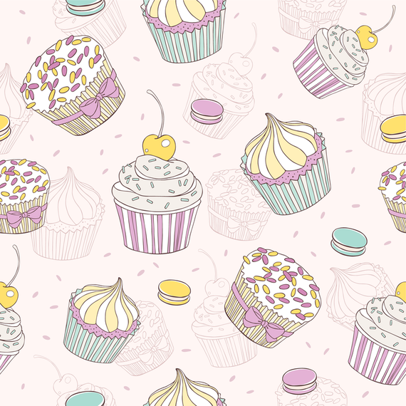 Hand drawn cupcake pattern in pastel tones