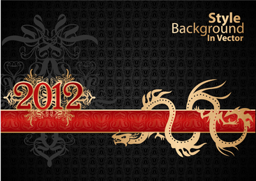 2012 dragon design with ribbon