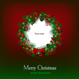 Christmas frame background with wreath