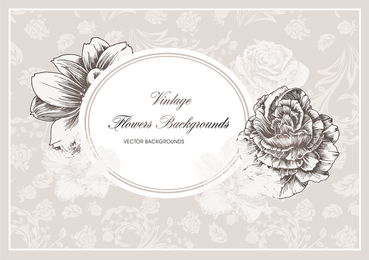 Elegante marco floral oval con flores.