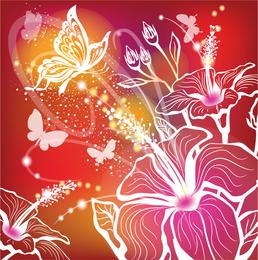 Fondo de pantalla de siluetas florales de fantasía.