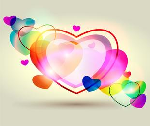 Corações coloridos de fantasia
