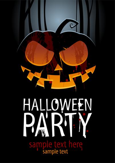 horrifying halloween party flyer vector download