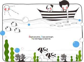 Cuento de ilustración infantil con texto