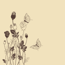 Illustrated vintage flowers and butterflies