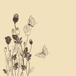 Mariposas y flores vintage ilustradas