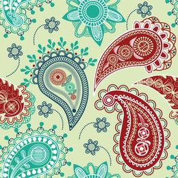 Diseño de arabescos azules y rojos.