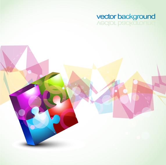 Colorful 3D puzzle background