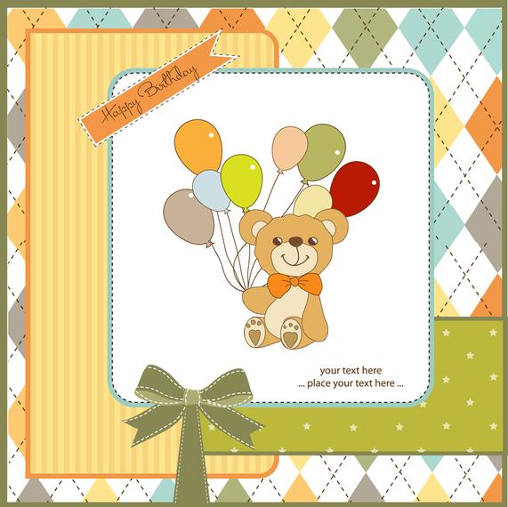 Ilustración de oso de peluche con tarjeta de globos