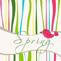 Spring background design with bird