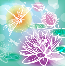 Beautiful flowers silhouettes illustration