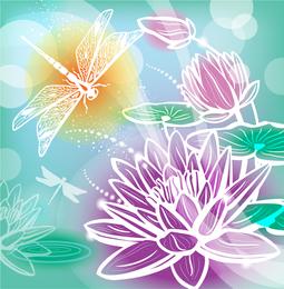 Ilustração de silhuetas lindas flores