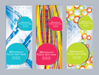 Vertical banner set with abstract shapes
