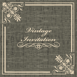 Convite vintage com cantos florais