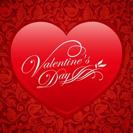 Corazón floral rojo