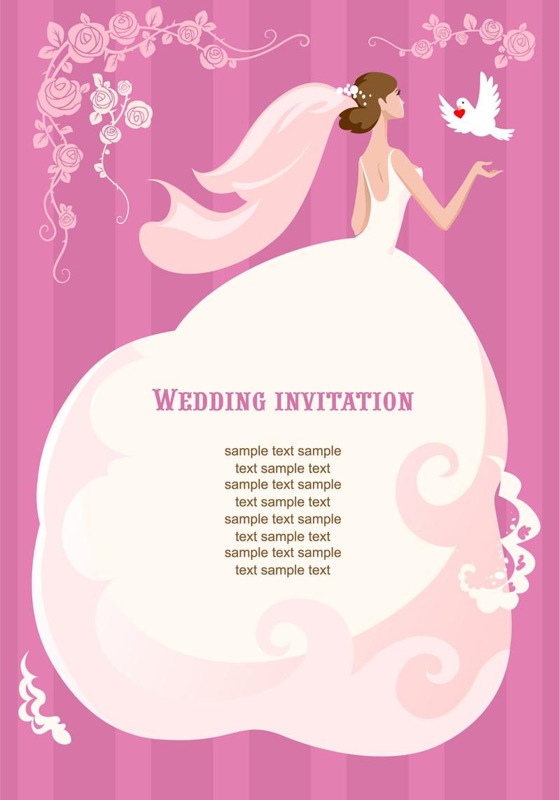 Wedding invitation with bride - Vector download