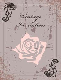 Convite vintage com flor e paisleys