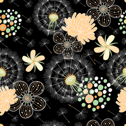 Fantasy floral background in pink and black
