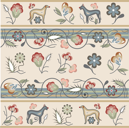 Flowers and dogs pattern design