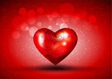 Corazón rojo sobre