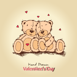 2 hand-drawn love teddy bears