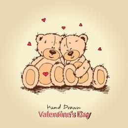 2 osos de peluche dibujados a mano.