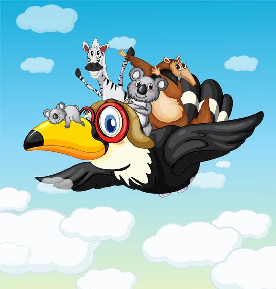 Wild animals flying illustration