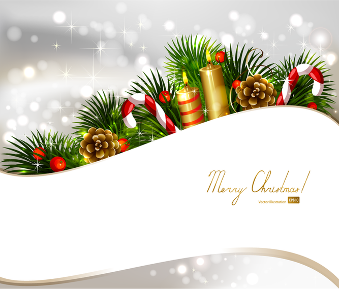Christmas design with ornaments and white ribbon
