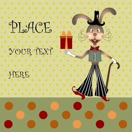 Rabbit cartoon card with text