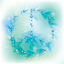 Símbolo paz, em, bolhas