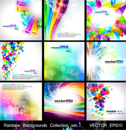 Collection of 9 colorful backgrounds