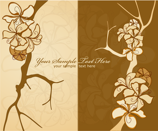 2 flower drawings in brown and beige