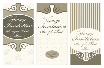 Beige and brown vintage invitation card