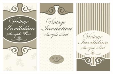 Tarjeta de invitación vintage beige y marrón