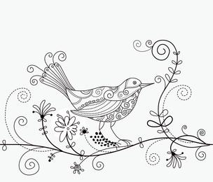 Bird Floral Background