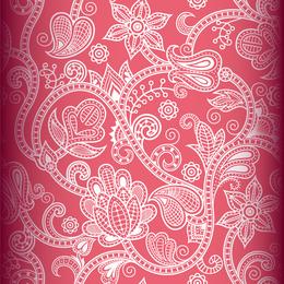 Papel tapiz de remolinos decorado en color rosa.