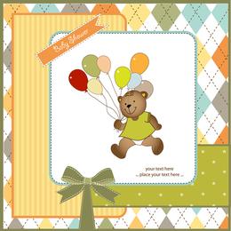 Teddy bear walking with balloons illustration
