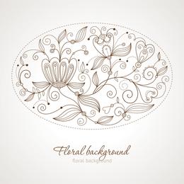 Flores de trazo fino en ovalo