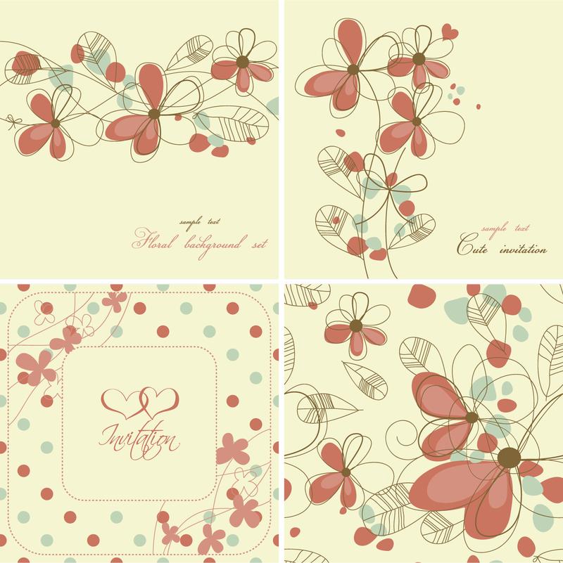 4 cute floral designs vector download