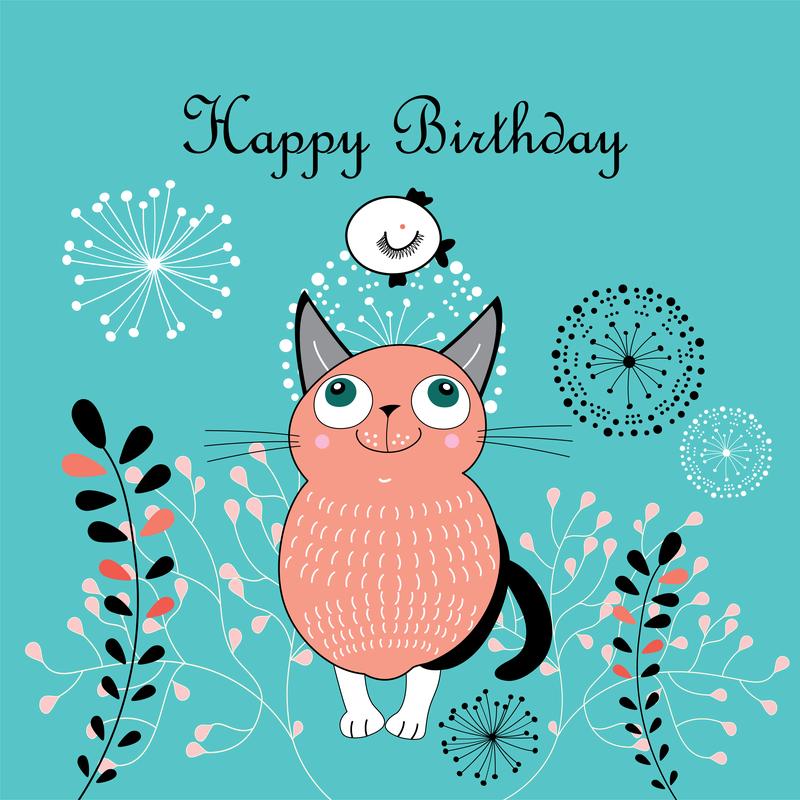 Happy Birthday cartoon cat design - Vector download
