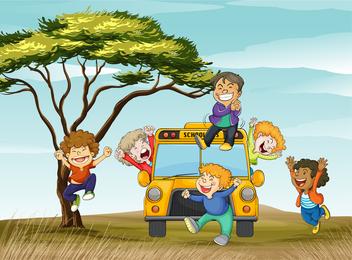 Crianças na ilustração de ônibus escolar