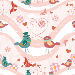 Couple of cartoon birds design