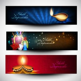 Conjunto de banner 3D de Diwali