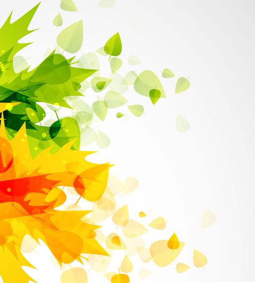 Download Vector Abstract Autumn Green Orange Leaves
