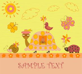 A mano ilustración dibujada tortuga