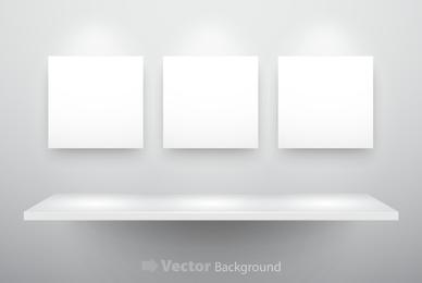 3 marcos y estante blancos